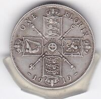 1919   KING  GEORGE  V  FLORIN   2/    SILVER  92.5    COIN