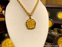 ATOCHA GOLD PENDANT NECKLACE CHAIN 2 ESCUDOS 22K SHIPWRECK TREASURE JEWELRY COIN