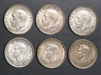 GREAT BRITAIN 1912 1944 3 PENCE SILVER   6 DATES/COINS AVG.