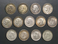 GREAT BRITAIN 1921 1943 3 PENCE SILVER   13 DATES/COINS