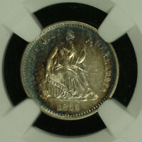 LIBERTY SEATED SILVER HALF DIME.1860 O. NGC AU DETAILS TONED. LOT  2672217-012