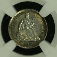 LIBERTY SEATED SILVER HALF DIME.1872 S. NGC AU DETAILS TONED. LOT  2672217-016