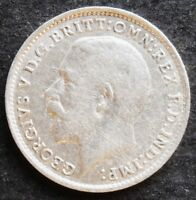 1915 GREAT BRITAIN THREEPENCE   NICE SILVER  COIN  VF    XF