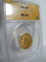 1911 $5 GOLD INDIAN HALF EAGLE ANACS MS 61 NICE