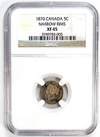 1870 NGC XF 45 CANADA 5C NICKEL NARROW RIMS 98997 R