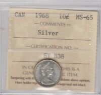 1968 SILVER TEN CENT ICCS GRADED MS 65
