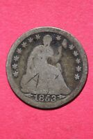 CULL 1853 P SEATED LIBERTY HALF DIME EXACT COIN SHOWN FLAT RATE SHIPPING OCE 202