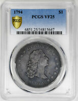 1794 $1 FLOWING HAIR DOLLAR - PCGS VF25 - US  COIN