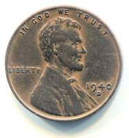 U.S. 1940 D LINCOLN WHEAT CENT - AMERICAN ONE CENT COIN - DENVER MINT
