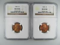 PAIR OF 1944 & 1945 WHEAT CENTS, BOTH NGC MINT STATE 65 RD -- GREAT PAIR OF RED COINS
