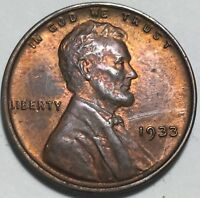 1933 LINCOLN CENT ALL ORIGINAL WITH SOME RED