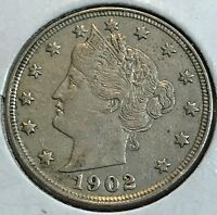 1902 LIBERTY NICKEL ORIGINAL AU BEAUTY CHN