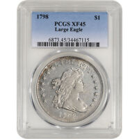 1798 US DRAPED BUST SILVER DOLLAR $1 - LARGE EAGLE - PCGS EXTRA FINE 45