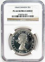 1964 NGC PL 66 ULTRA CAMEO CANADA SILVER $1 DOLLAR PROOF LIKE 99051 R