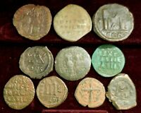 LOT OF TEN LARGE BYZANTINE COINS LARGEST 34 MM GOOD MIX OF RULERS  JESUS ETC