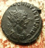 QUINTILLUS AD 270 ANTONINIANUS RADIATE CUIRASSED BUST VICTORY WITH  IN FIELD.