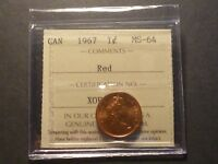 BRIGHT RED   CANADA SMALL CENT 1967 ICCS MS 64 RED