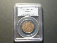 BEAUTIFUL SURFACES   CANADA LARGE CENT 1913 PCGS MS 64 BROWN