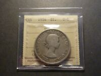 LOWBALL   1954 CANADA SILVER DOLLAR POCKET PIECE LUCKY COIN ICCS G 6