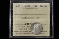 1965 CANADA. 10 CENTS. ICCS GRADED MS 65 .  XJH313