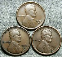1913-S  1916-S  1916-D LINCOLN WHEAT CENTS ---  LOT --- N642