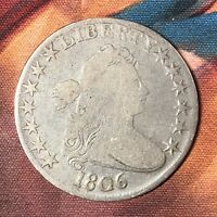 1806 DRAPED BUST HALF DOLLAR O-109A POINTED 6, NO STEMS