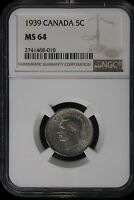 1939 CANADA. 5 CENTS. NGC GRADED MS 64