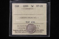 1899 CANADA. 5 CENTS. ICCS GRADED VF 30.  XDS760
