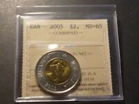 CANADA TWO DOLLARS 2005 BUSINESS STRIKE GRADED ICCS MS 65
