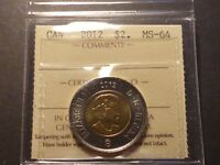 CANADA TWO DOLLARS 2012 OLDER BASE METAL BUSINESS STRIKE GRADED ICCS MS 64