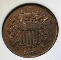 1864 LARGE MOTTO 2C. PIECE OLD ANACS AU58 MEDIUM BROWN BEAUTY CHN