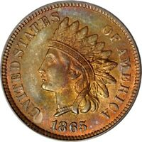 1865 1C FANCY 5 INDIAN CENT PCGS MINT STATE 64RB PHOTO SEAL