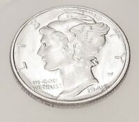 1945  MERCURY  UNCIRCULATED   DIME  90   SILVER   LUSTROUS  ORIGINAL    422  1