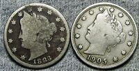 1883 WITH CENTS 1905 LIBERTY V NICKEL LOT  ----   ---- D137