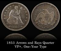 SUPER ORIGINAL 1853 ARROWS AND RAYS SEATED QUARTER VF  RAINBOW TONING