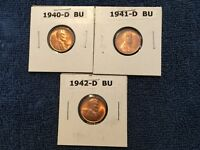 1940 D,41 D,42 D  BU RED LINCOLN CENTS  -  ALL 3 FOR ONE BID