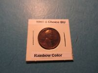 1941 D 1C CHOICE BU RED LINCOLN CENT SLITE TOUCH OF RAINBOW COLOR