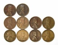 LOT OF 10 1919 D 1C LINCOLN WHEAT CENT PENNIES VF  FINE / VF 128152