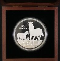 1999 MALAWI PROOF SILVER 50 KWACHA ZEBRA 1/2 KILO SILVER COIN WITH COA AND CASE