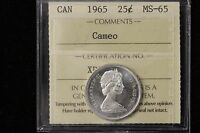 1965 CANADA. 25 CENTS. ICCS GRADED MS 65 CAMEO.  XDS831