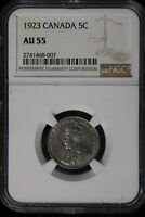 1923 CANADA. 5 CENTS. NGC GRADED AU 55.
