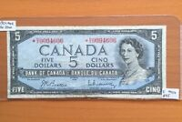 BC 39BA BANK OF CANADA 1954 MODIFIED $5 REPLACEMENT F FINE  N/X