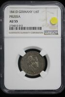 1841 D GERMANY / PRUSSIA. 1/6 THALER. NGC GRADED AU 55. SOLO TOP POP.