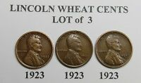 1923 LINCOLN WHEAT CENTS LOT OF 3 SAME DATE / MINT COMBINED SHIPPING  LOT A27