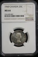 1960 CANADA. 25 CENTS. NGC GRADED MS 64