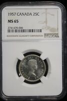 1957 CANADA. 25 CENTS. NGC GRADED MS 65