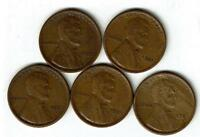 LOT OF FIVE LINCOLN WHEAT CENTS. 1921-P/1921-S. FINE OR BETTER. SEE THE SCANS