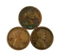LOT OF 3 1915 S 1C LINCOLN WHEAT CENT PENNIES OFF QUALITY 130511