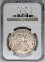 1873-CC $1 SEATED LIBERTY DOLLAR - NGC VF25 CERTIFIED US  COIN