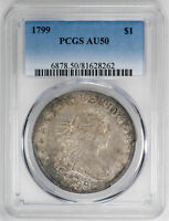 1799 $1 DRAPED BUST DOLLAR - PCGS AU50 CERTIFIED US  COIN